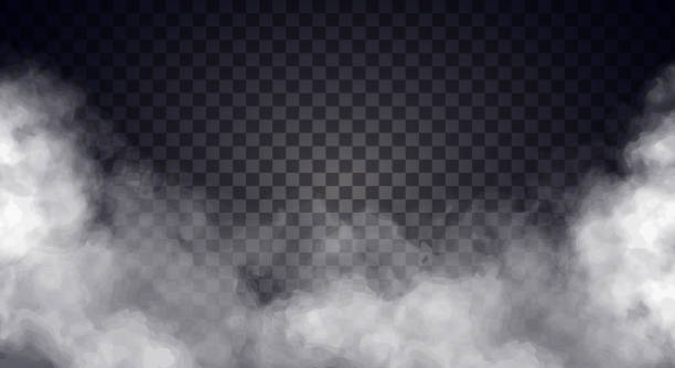 white fog or smoke on dark copy space background. - smoke stock illustrations