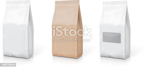 White foil or paper snack bag set. Packaging in food. Vector illustration