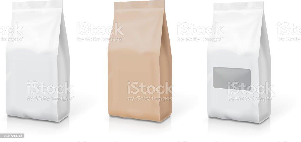 Branco da folha ou lanche conjunto de saco de papel. Embalagens de alimentos. Ilustração vetorial - ilustração de arte em vetor