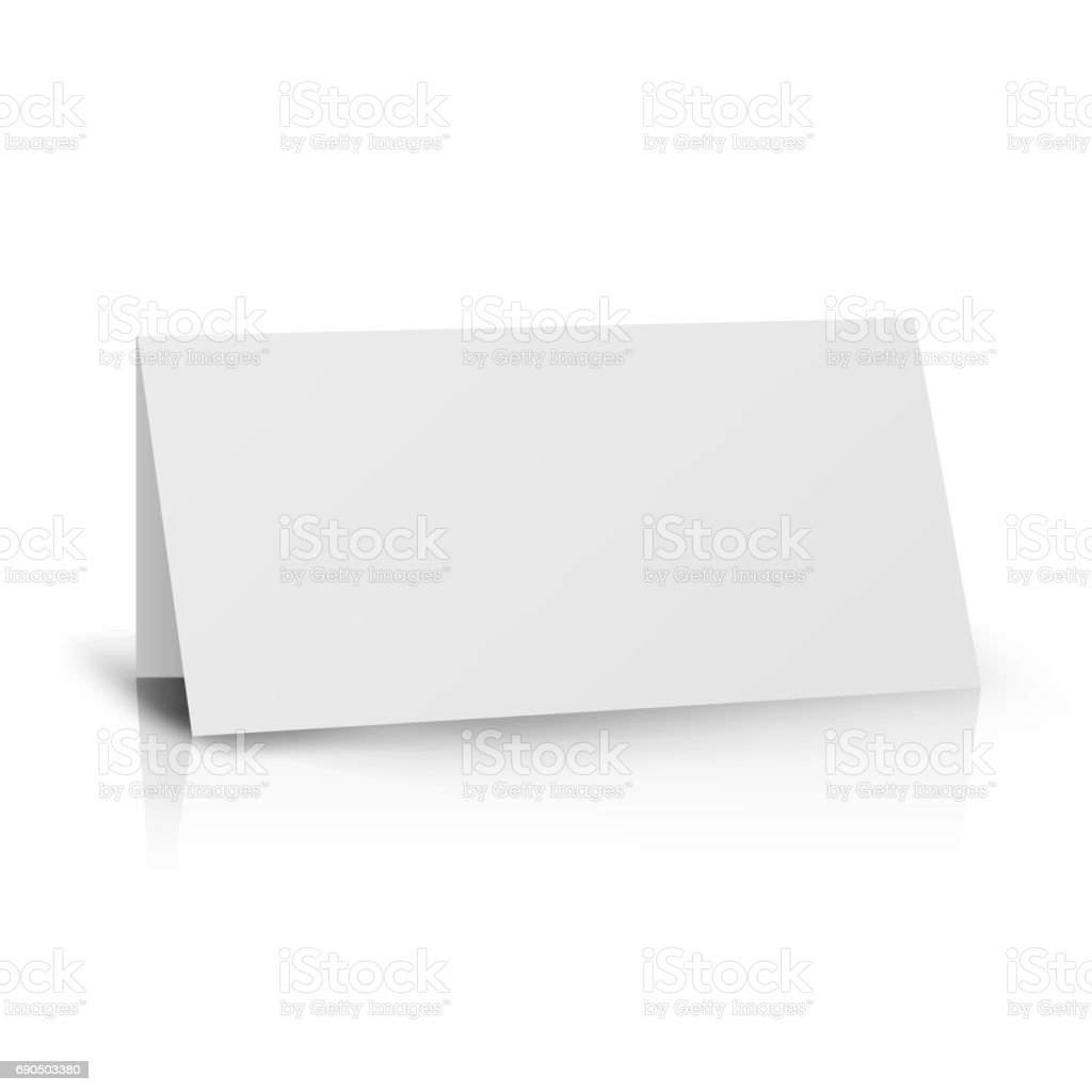 White Folder Paper Greeting Card Vector Template Stand Table Tag