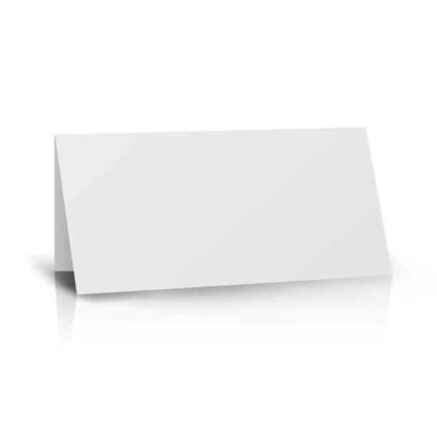 White Folder Paper Greeting Card Vector Template. Stand Table Tag Flyer Design Template White Folder Paper Greeting Card Vector Template. Stationery Brochure For Presentation Card cartable stock illustrations