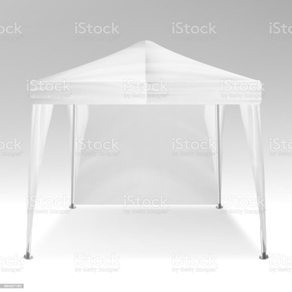White Folding Tent Mockup Vector. Promotional Outdoor Event Trade Show Pop-Up Tent Mobile Marquee, Template. Product Advertising. Vector Illustration vector art illustration