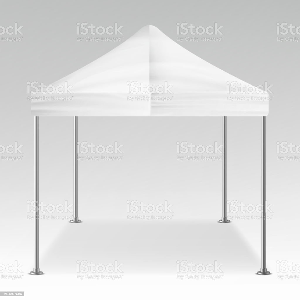 White Folding Tent Outdoor Pavilion Vector. Realistic Template Blank For Exhibition, Show, Party Or Wedding. Vector Illustration vector art illustration