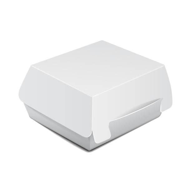 weiße lebensmittel-box, verpackung für mittagessen, burger, sandwich, fast-food. vector produktpaket auf weißem hintergrund - schnellkost stock-grafiken, -clipart, -cartoons und -symbole
