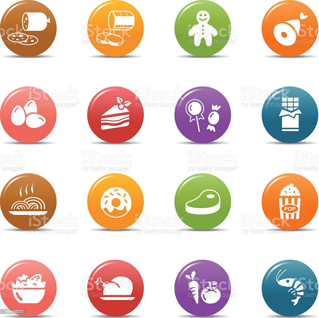 White food icons in colorful 3D bubbles royalty-free stock vector art