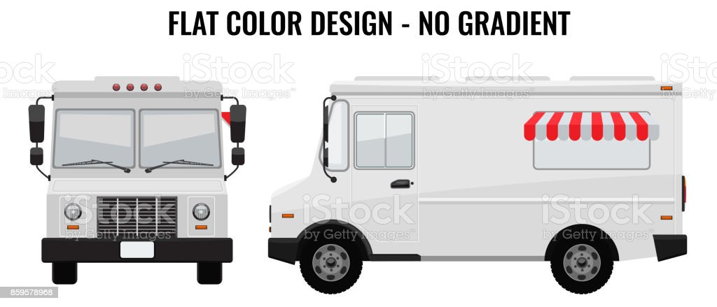 White Food Truck Hidetailed With Solid And Flat Color Design - Food truck design template