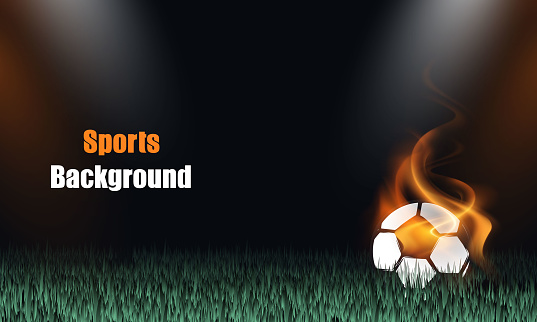 white football with fire stock illustration