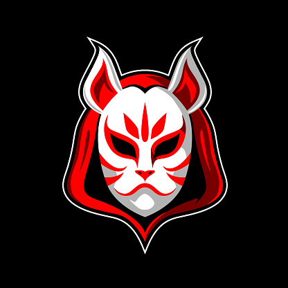 White fox head mask with hoodie symbol