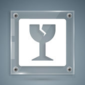 White Fragile broken glass symbol for delivery boxes icon isolated on grey background. Square glass panels. Vector Illustration