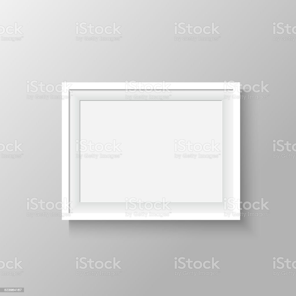 white frame for paintings or photographs on the wall. vector art illustration