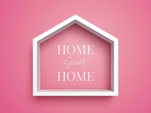 white frame in shape of house on pink background - home stock illustrations