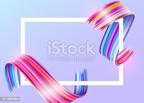 929915344istockphoto White Frame with Abstract Vector Paint Brush Stroke. Colorful Curl of Liquid Paint. Digital 3D Ribbon with Brush Texture. Abstract Ink Background. Creative Spiral Wave with Pink, Blue, Red Colors. 911992684