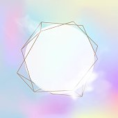 White frame with smoke on holographic abstract background.  Vector illustration