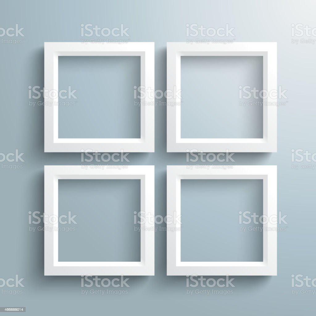4 White Frames Silver Background PiAd vector art illustration