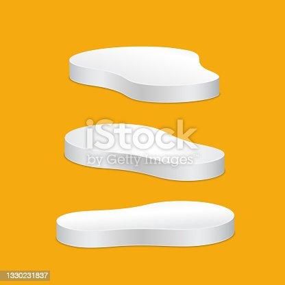 istock White freeform pedestal empty isolated on gray background. 1330231837