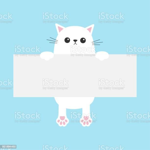 White funny cat hanging on paper board template kitten body with paw vector id931894450?b=1&k=6&m=931894450&s=612x612&h=bb9 j29rdqqw60qrgt1sdivbmkpnupzjl7xstgqysuy=