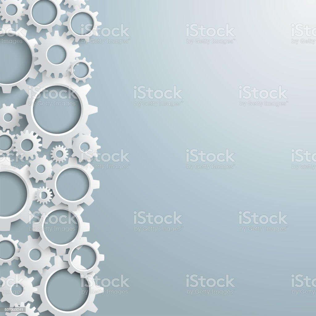 White Gears Left Side vector art illustration