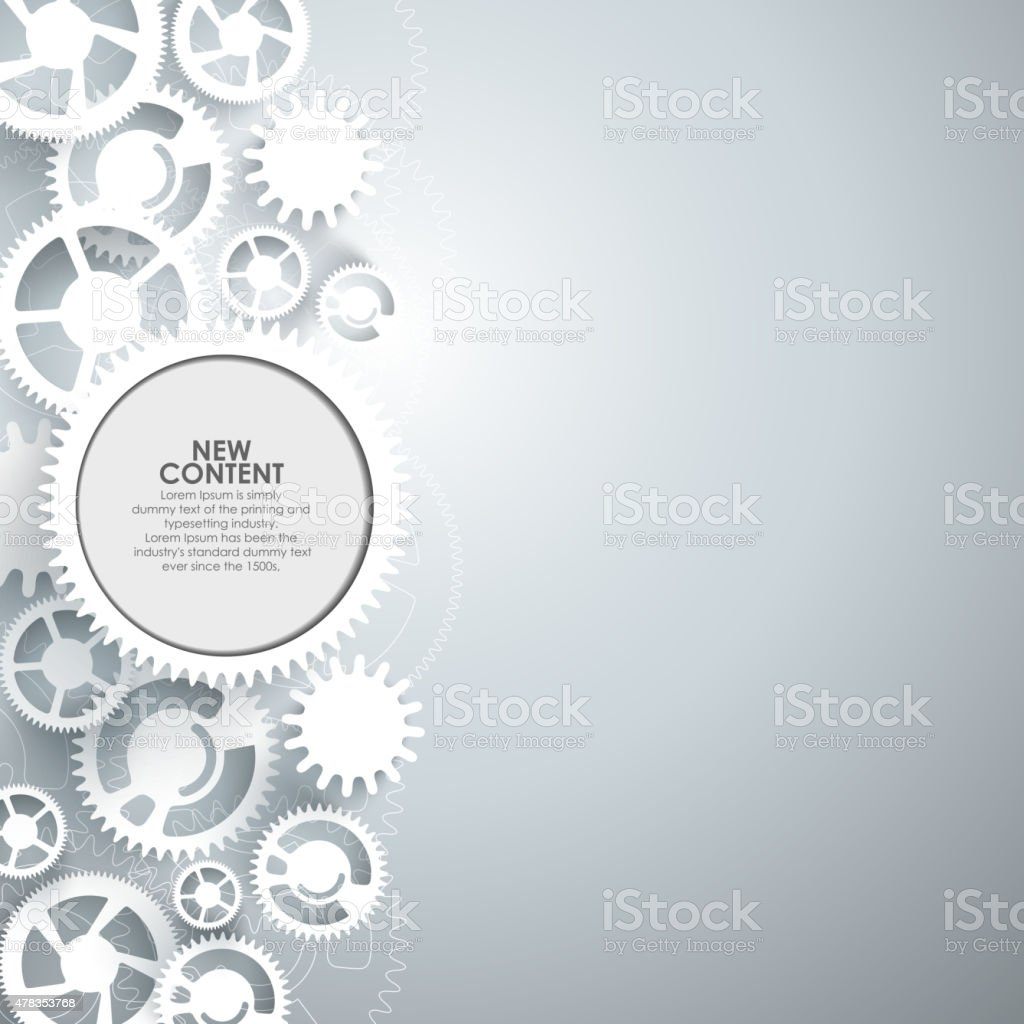 White gears on the grey background. vector art illustration