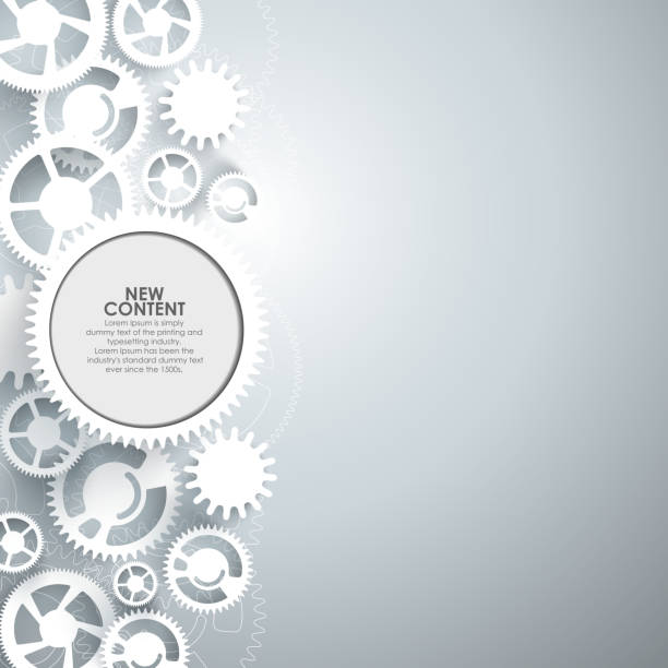 White gears on the grey background. White gears on the grey background, vector illustration. gearshift stock illustrations