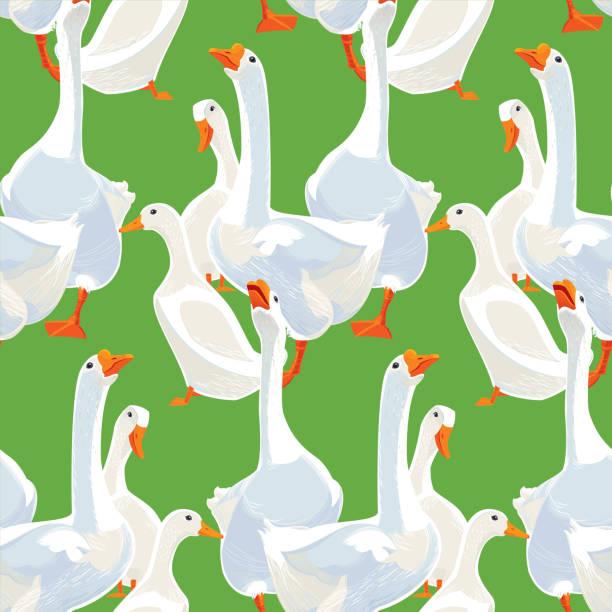White Geese and Ducks Seamless Pattern White Geese and Ducks Seamless Pattern. Vector illustration. american pekin duck stock illustrations