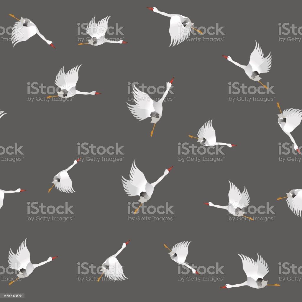 White Geese Seamless Pattern 免版稅 white geese seamless pattern 向量插圖及更多 一組物體 圖片