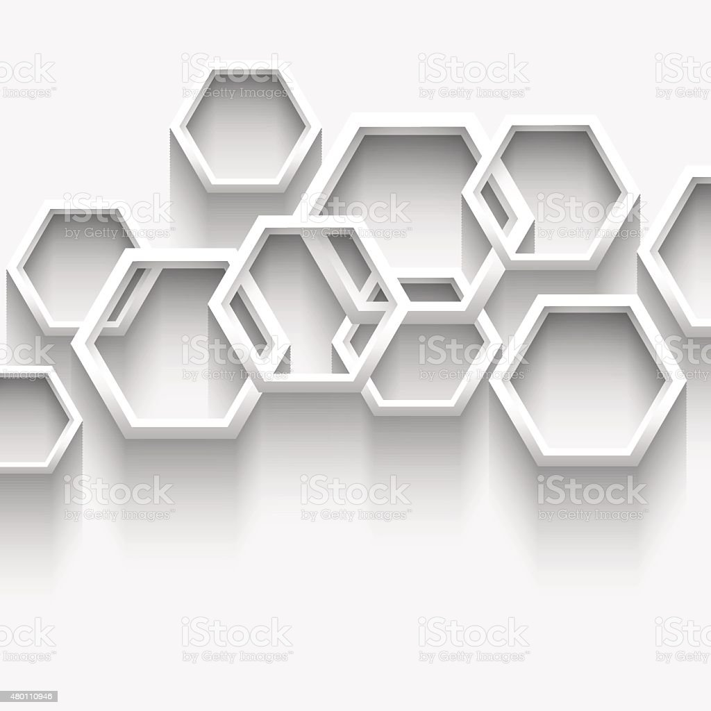 White geometric background with hexagons vector art illustration