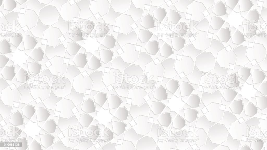 White Geometric Islamic Wallpaper Pattern As A Background