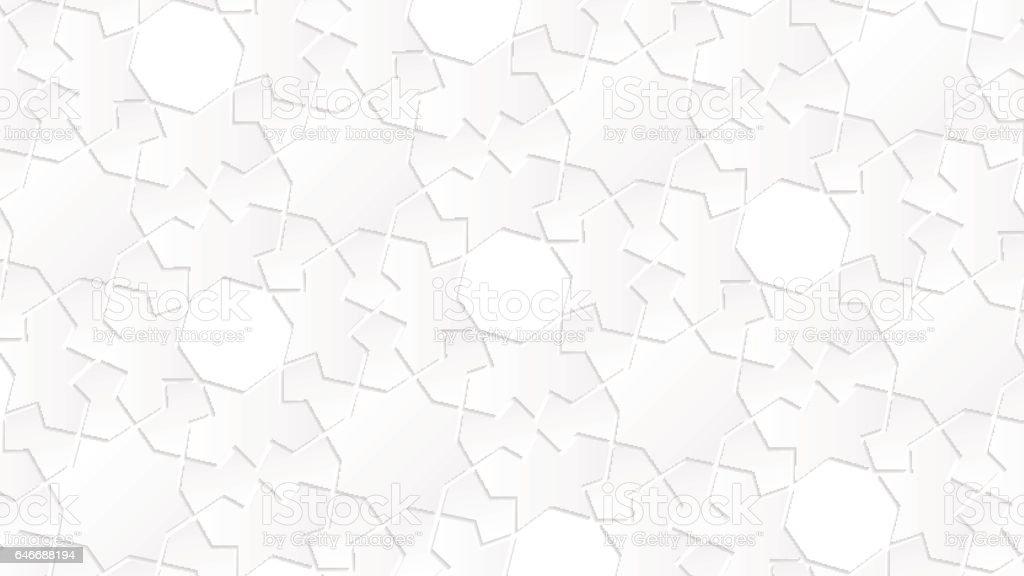 White Geometric Islamic Wallpaper Pattern As A Background