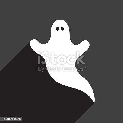 istock White Ghost Icon 1058211076