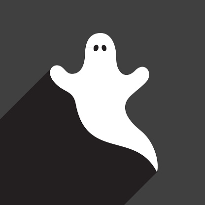 Vector illustration of a white cute ghost on a black background.