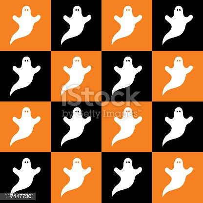 istock White Ghosts Checkerboard Seamless  Pattern 1174477301