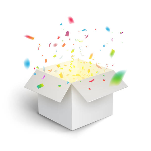 ilustrações de stock, clip art, desenhos animados e ícones de white gift box confetti explosion. magic open surprise gift box package decoration - surpresa