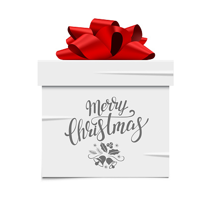 White Gift Box Sticker With Red Bow And Place For Text