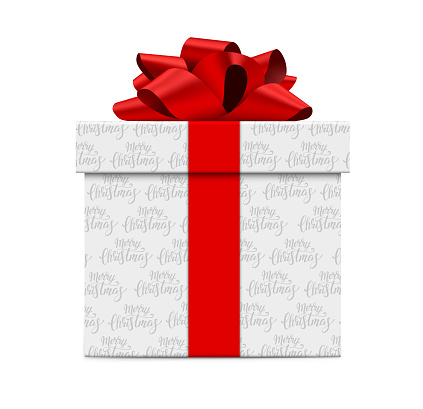 White Gift Box with Red Bow and Text on White Paper