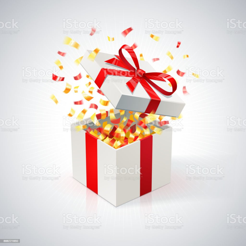 White Gift Box with red ribbon and golden confetti. Open gift box.. festive background
