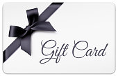 Vector white gift cards with black bow, ribbon and black text.