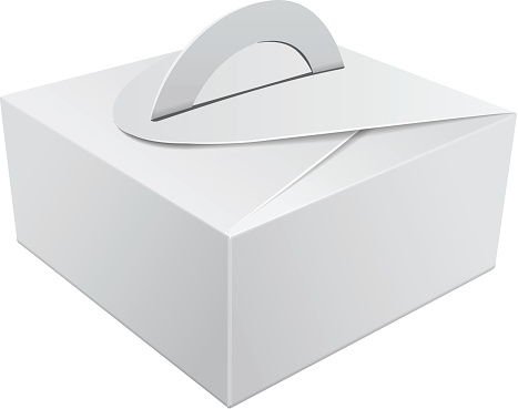 White Gift Packaging Box with Handle mockup for Cake. Paperboard Packaging Container Template for Wedding Party Decoration