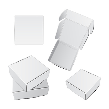 White Gift Packaging Box with Handle mockup for Cake. Set of Paperboard Packaging Container Template for Wedding Party Decoration [Converted]