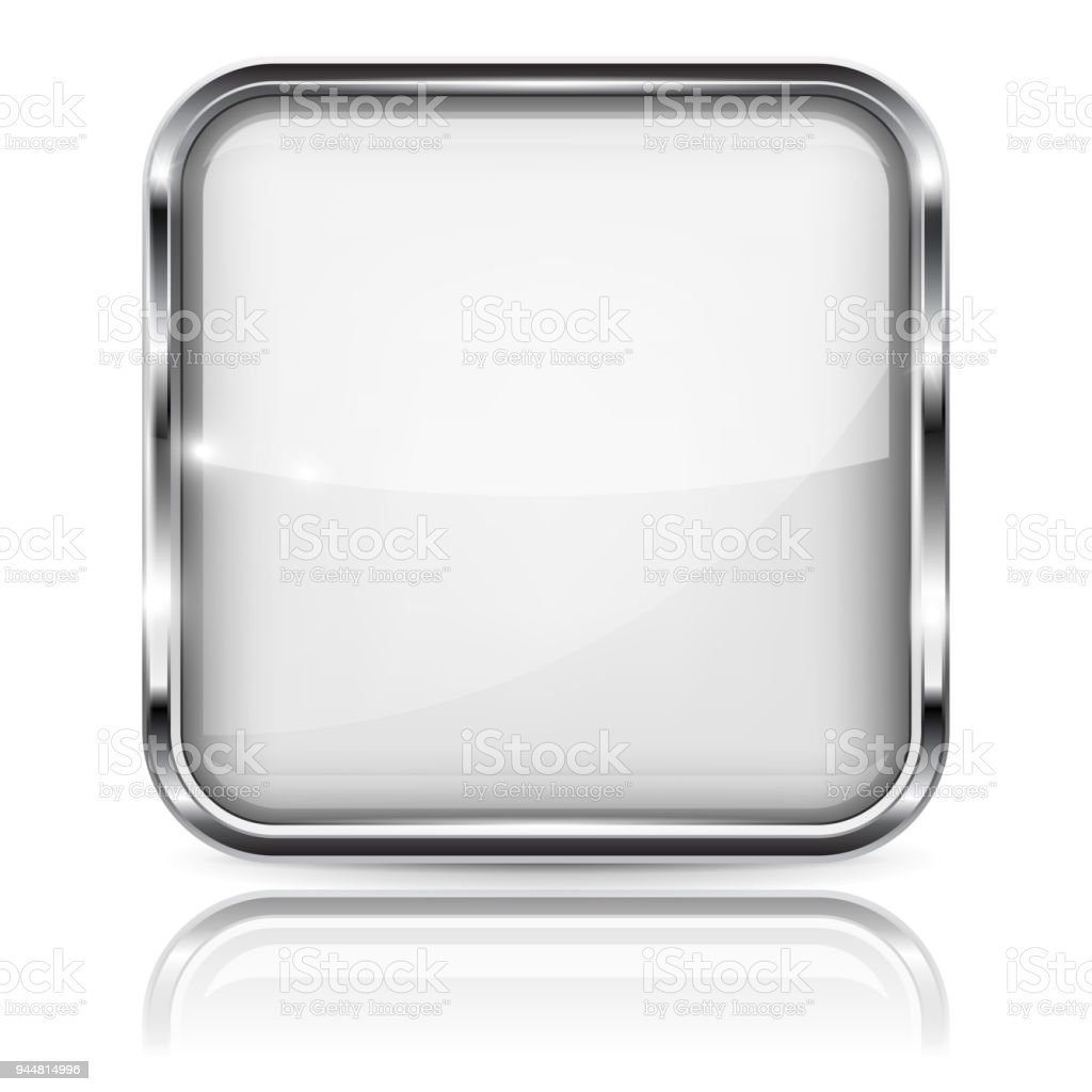 White Glass 3d Button With Metal Frame Square Shape With Reflection ...
