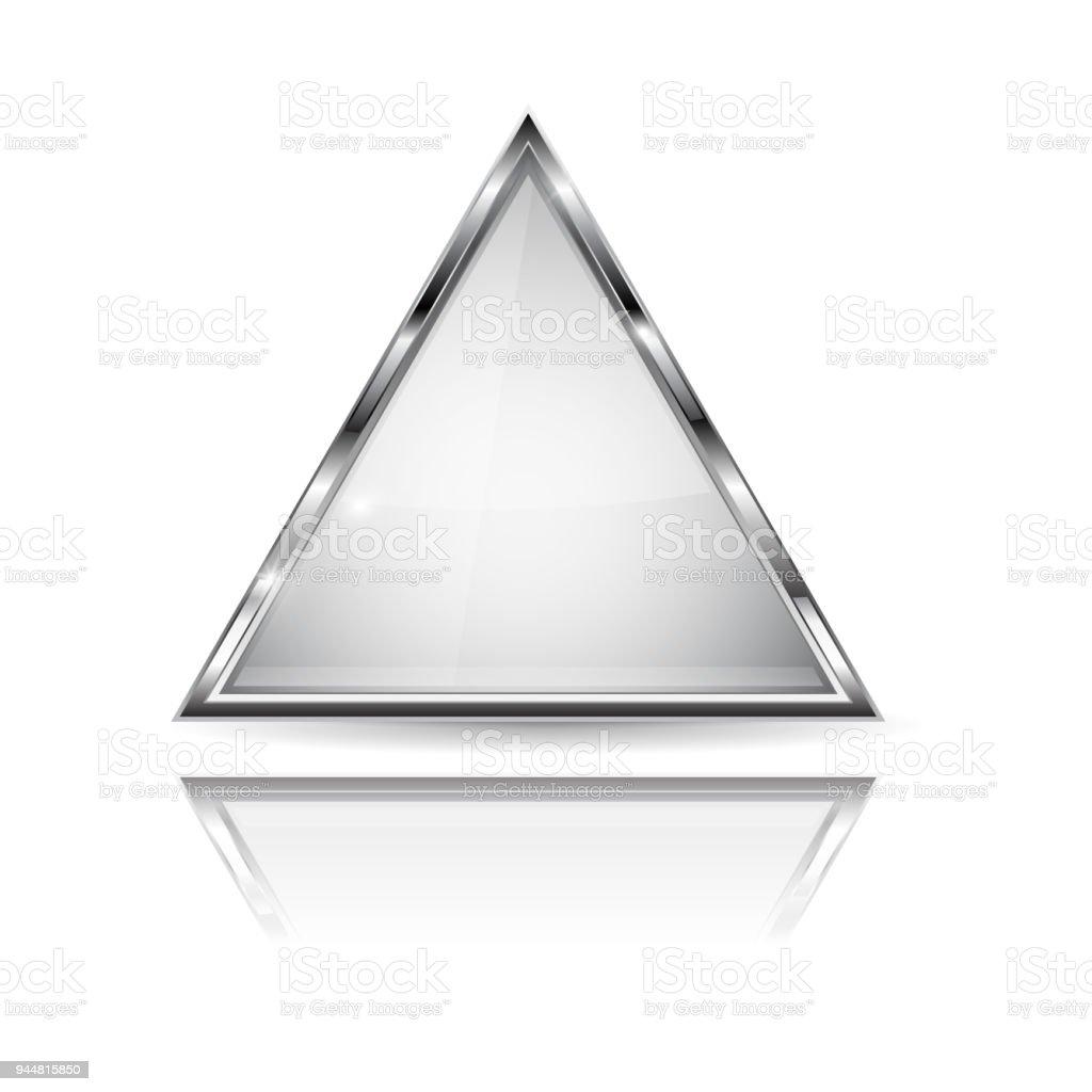 Ilustración de Vidrio Blanco Botón 3d Con Marco De Metal Forma Del ...