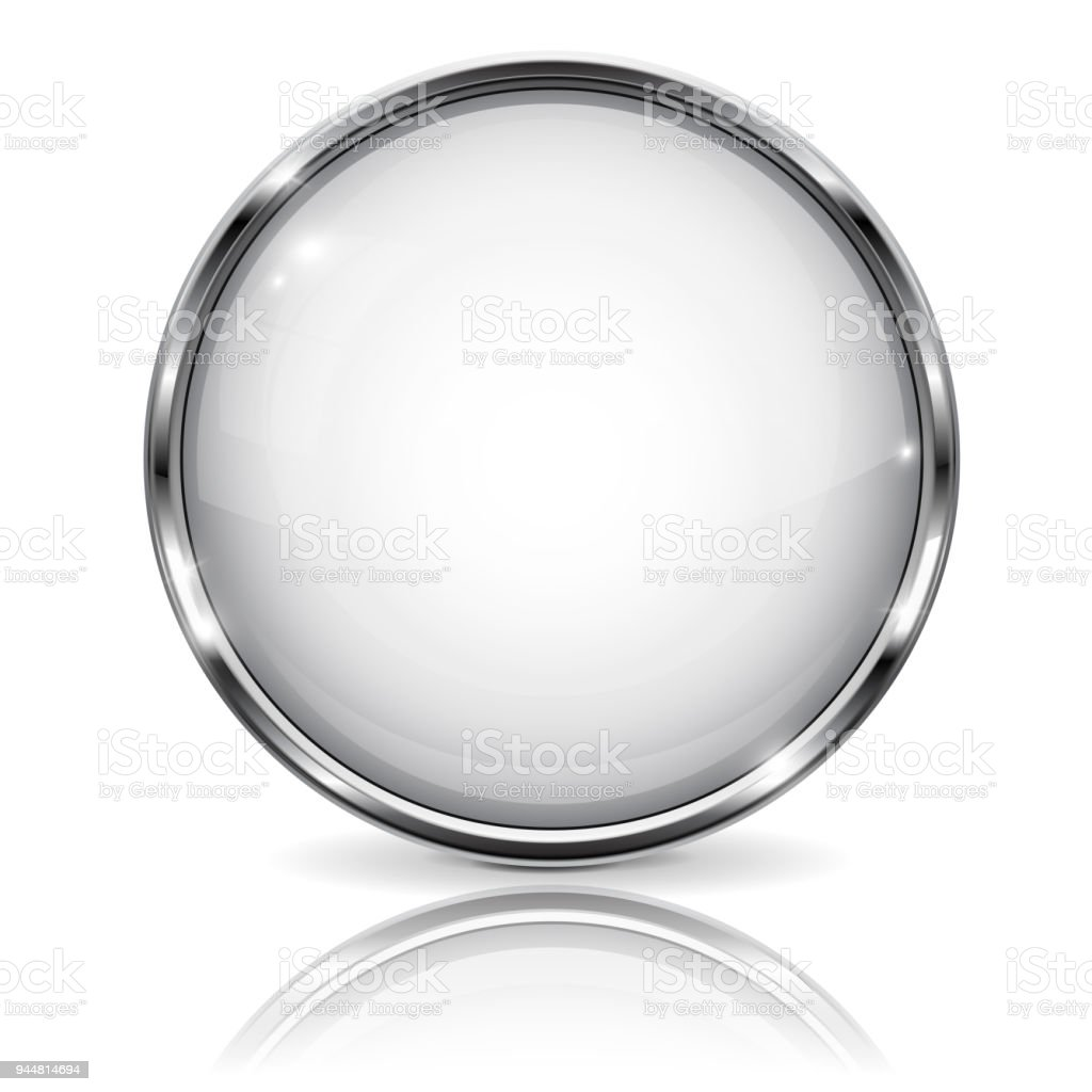 White Glass 3d Button With Metal Frame With Reflection On White ...