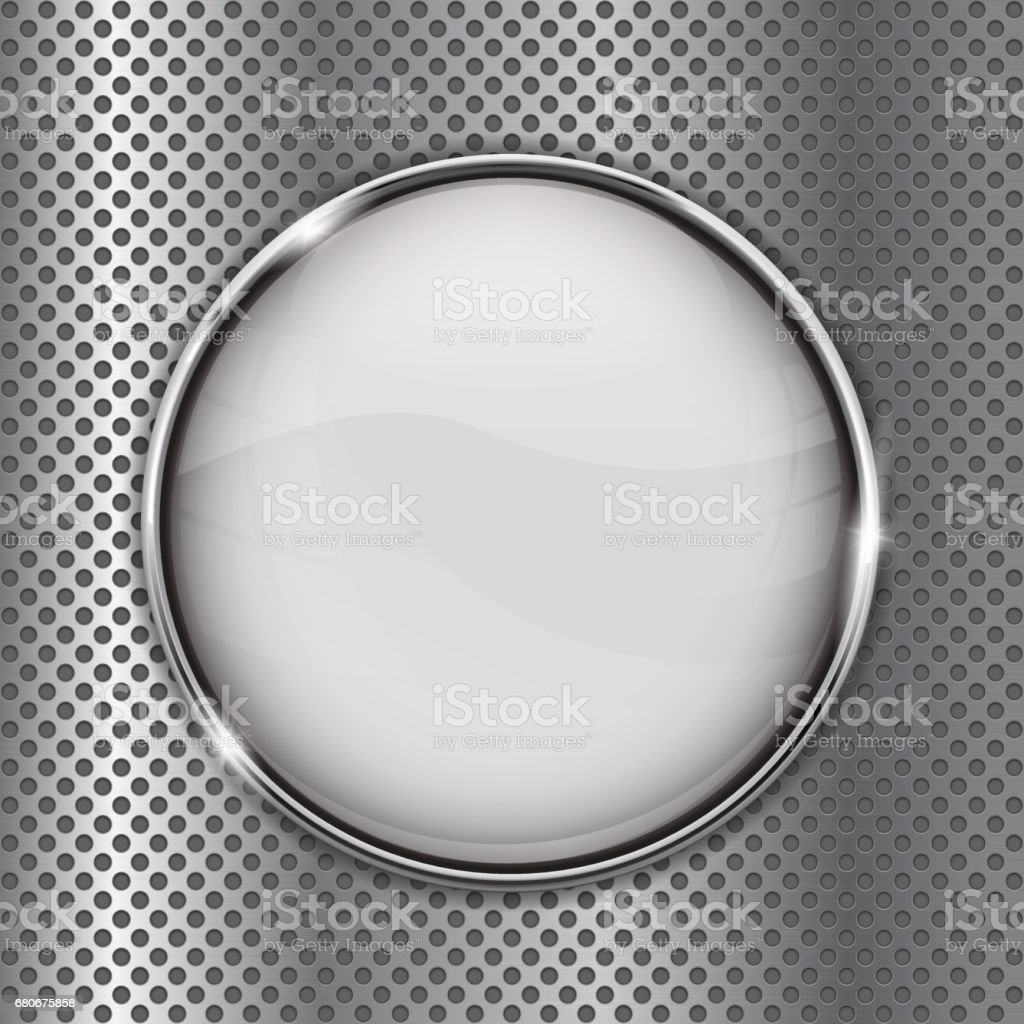 White glass button on metal perforated background vector art illustration