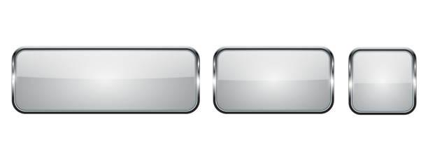 帶鍍鉻框的白色玻璃鈕扣。3d 方形圖示向量藝術插圖
