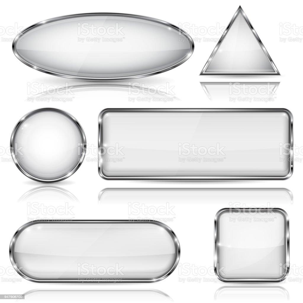 Botones De Cristal Blanco Con Marco De Cromo Geométrica En Forma De ...