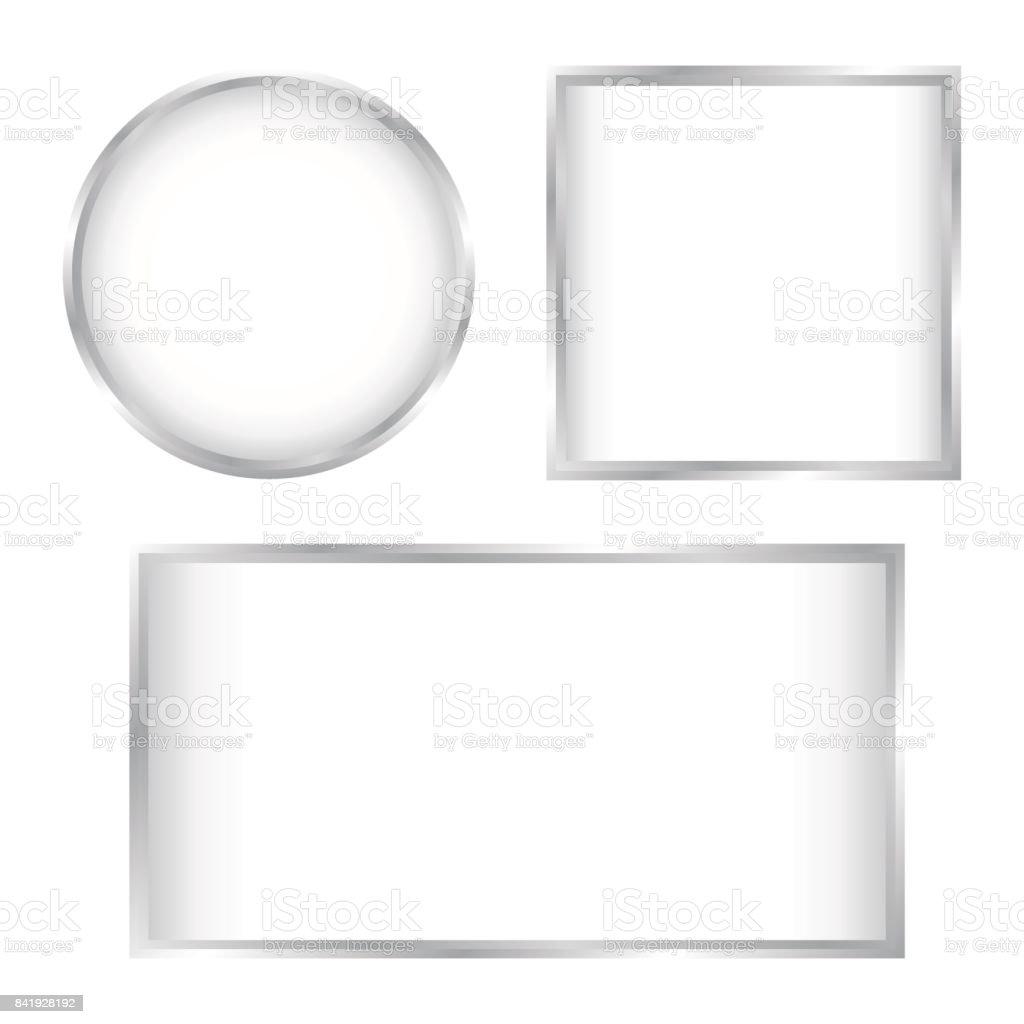 Botones De Cristal Blanco Con Marco De Cromo Conjunto Aislado - Arte ...