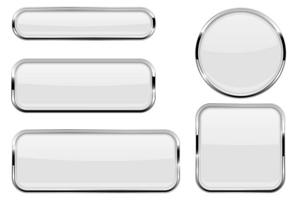 white glass buttons with chrome frame - przycisk stock illustrations