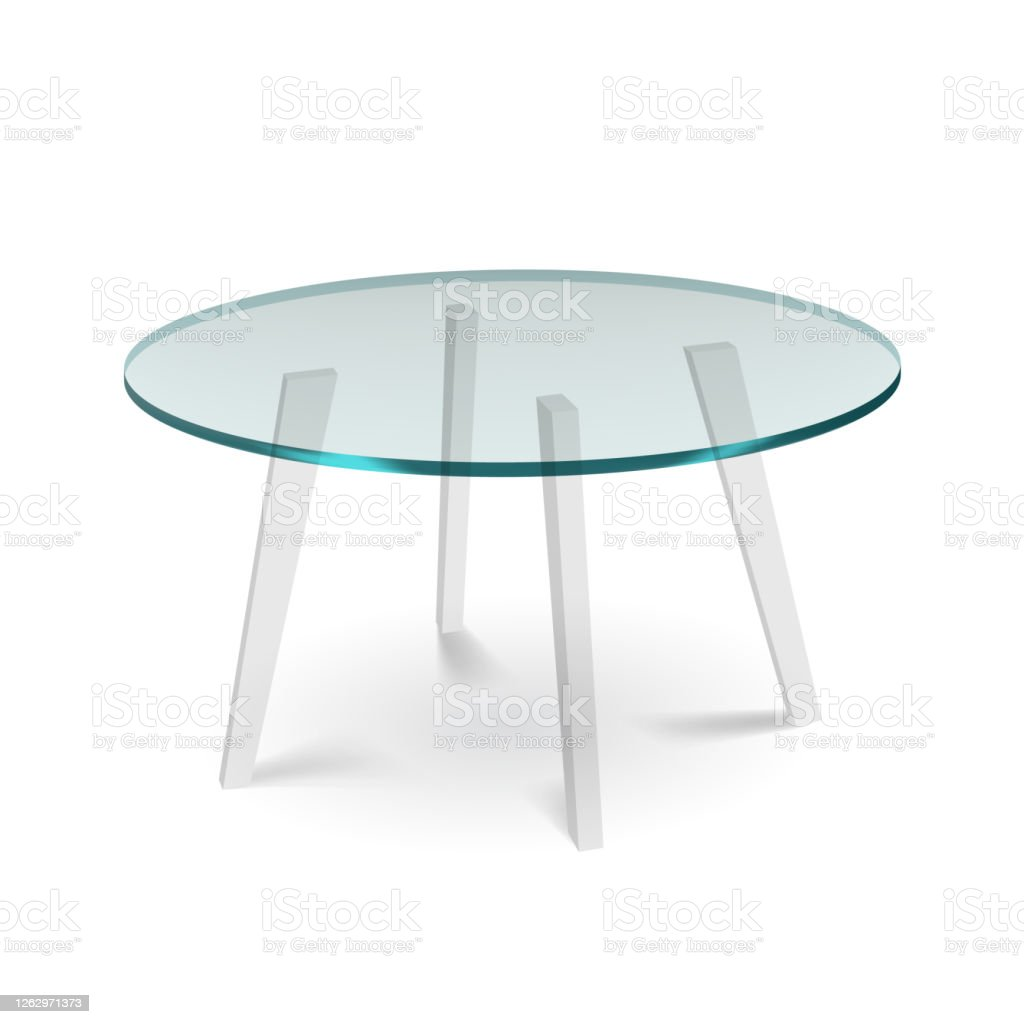 White Glass Round Dining Table With White Legs Stock Illustration ...