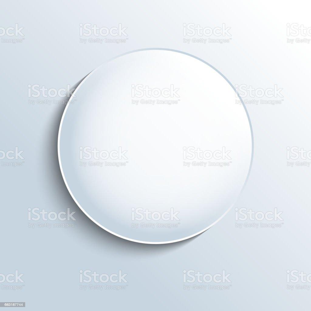 White glass sphere shape button vector art illustration