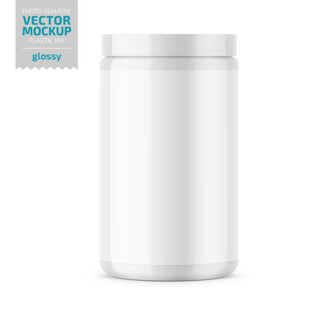 White glossy plastic jar with lid for powder. White glossy plastic jar with lid for sport powder - protein, vitamins, bcaa, tablets. Photo-realistic packaging mockup template. Vector 3d illustration. jar stock illustrations