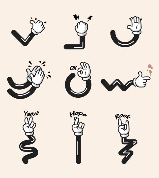 bildbanksillustrationer, clip art samt tecknat material och ikoner med vit handske comic tecknad hand gest - lem kroppsdel